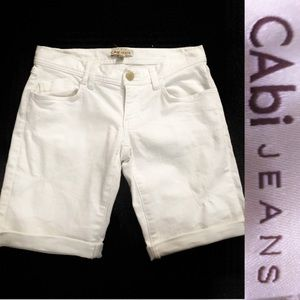 CAbi White Denim Shorts: sz0, #419
